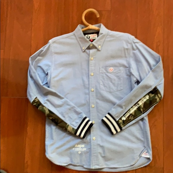 187fff4d Bape Shirts   Rare Aape By A Bathing Ape Oxford With Banded Cuff ...